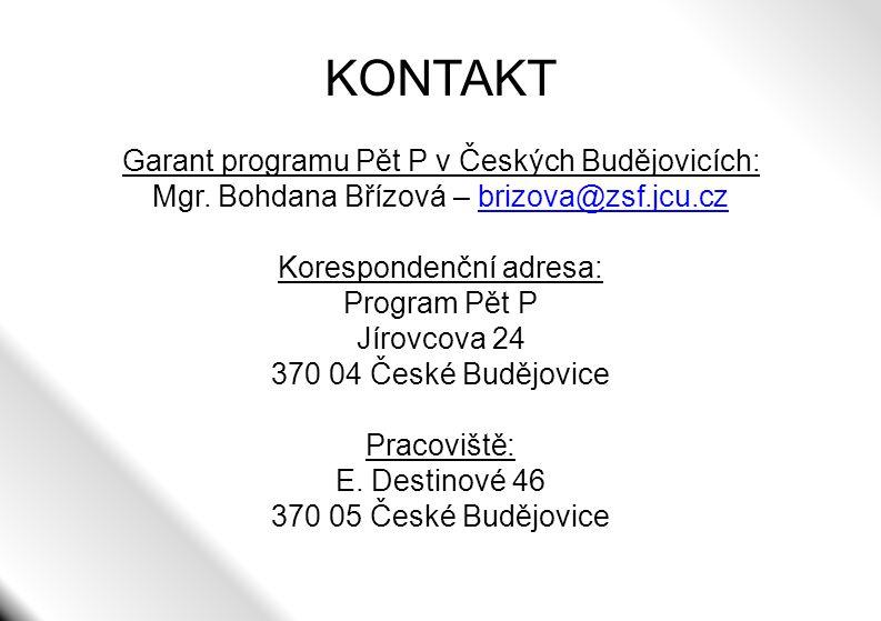 KONTAKT Garant programu Pět P v Českých Budějovicích: