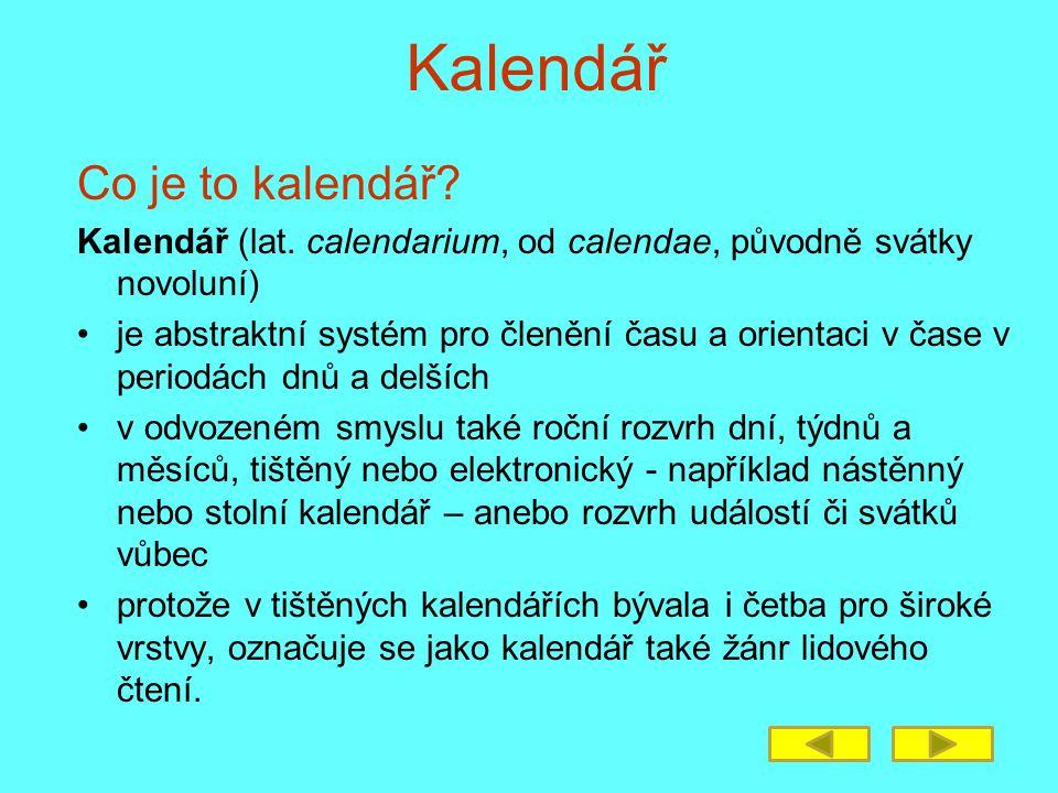 Kalendář Co je to kalendář