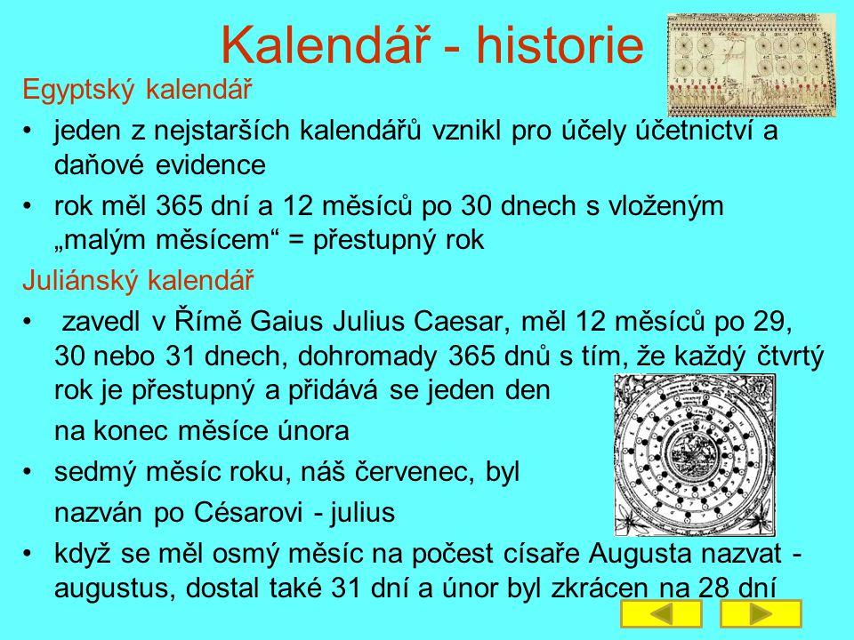 Kalendář - historie Egyptský kalendář