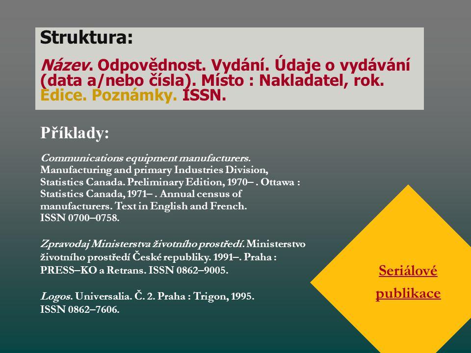 Struktura: Název. Odpovědnost. Vydání. Údaje o vydávání (data a/nebo čísla). Místo : Nakladatel, rok. Edice. Poznámky. ISSN.