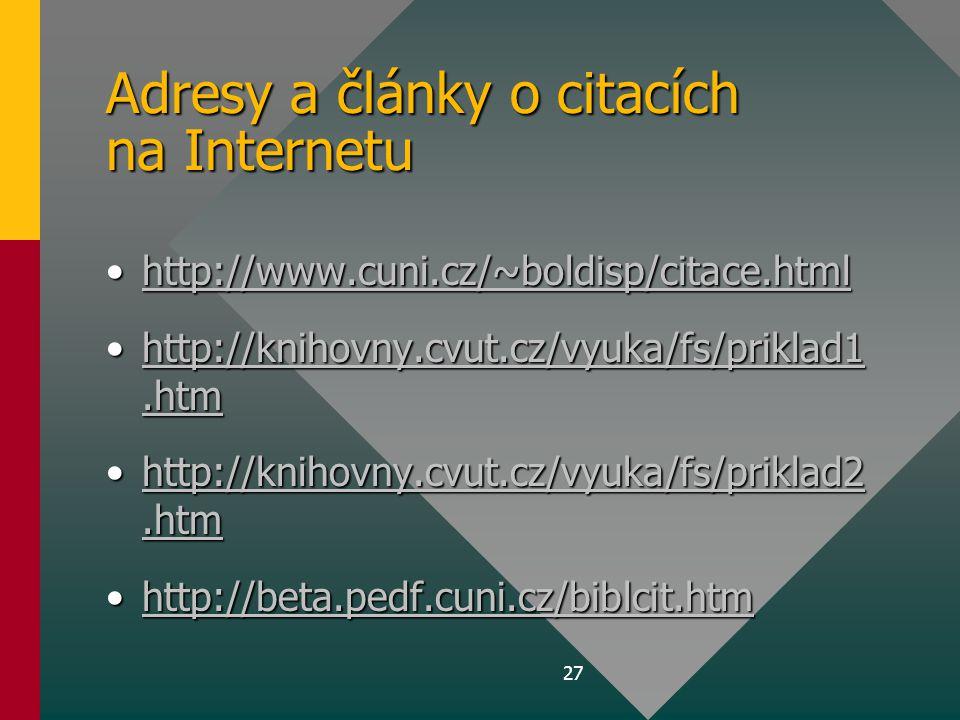 Adresy a články o citacích na Internetu