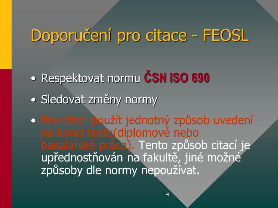 Doporučení pro citace - FEOSL