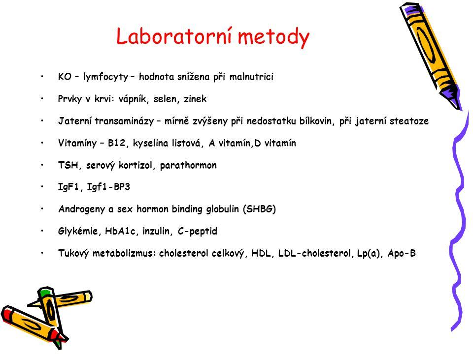 Laboratorní metody KO – lymfocyty – hodnota snížena při malnutrici