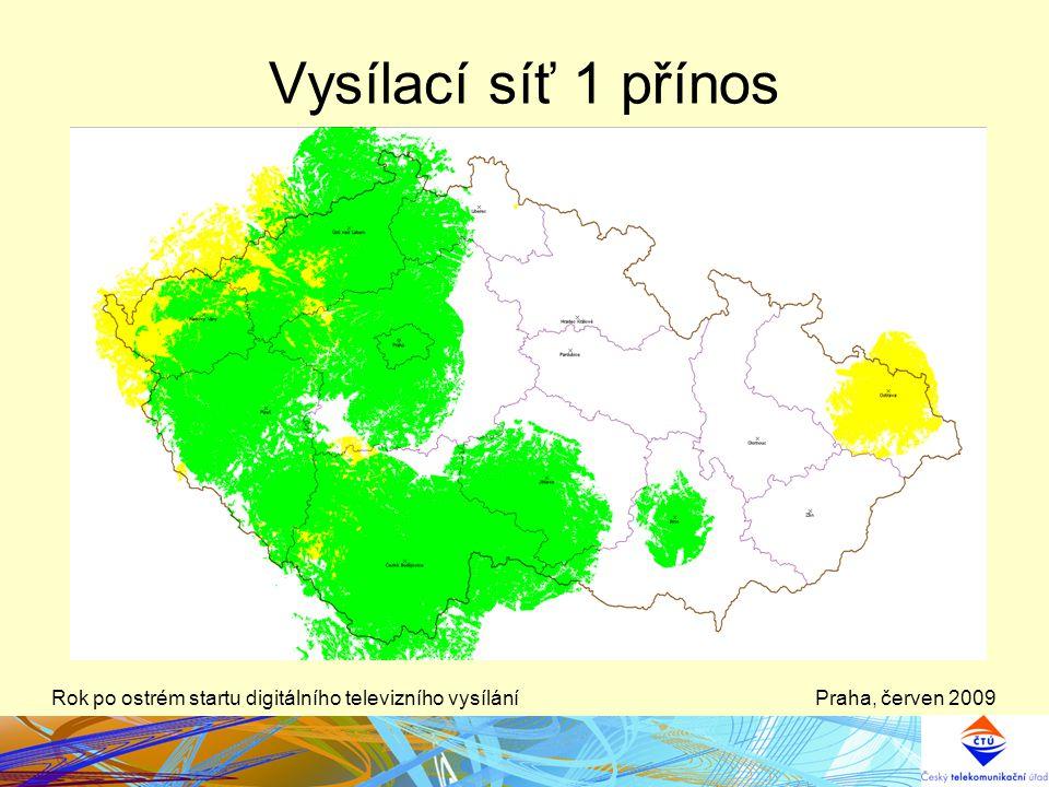 Vysílací síť 1 přínos Rok po ostrém startu digitálního televizního vysílání Praha, červen 2009