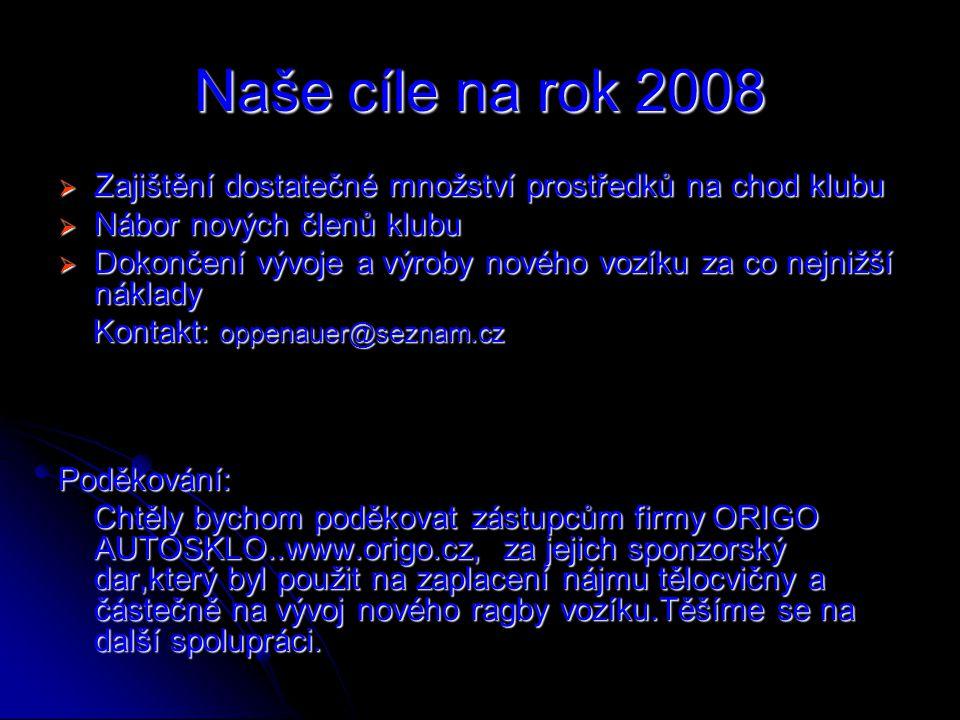 Naše cíle na rok 2008 Zajištění dostatečné množství prostředků na chod klubu. Nábor nových členů klubu.