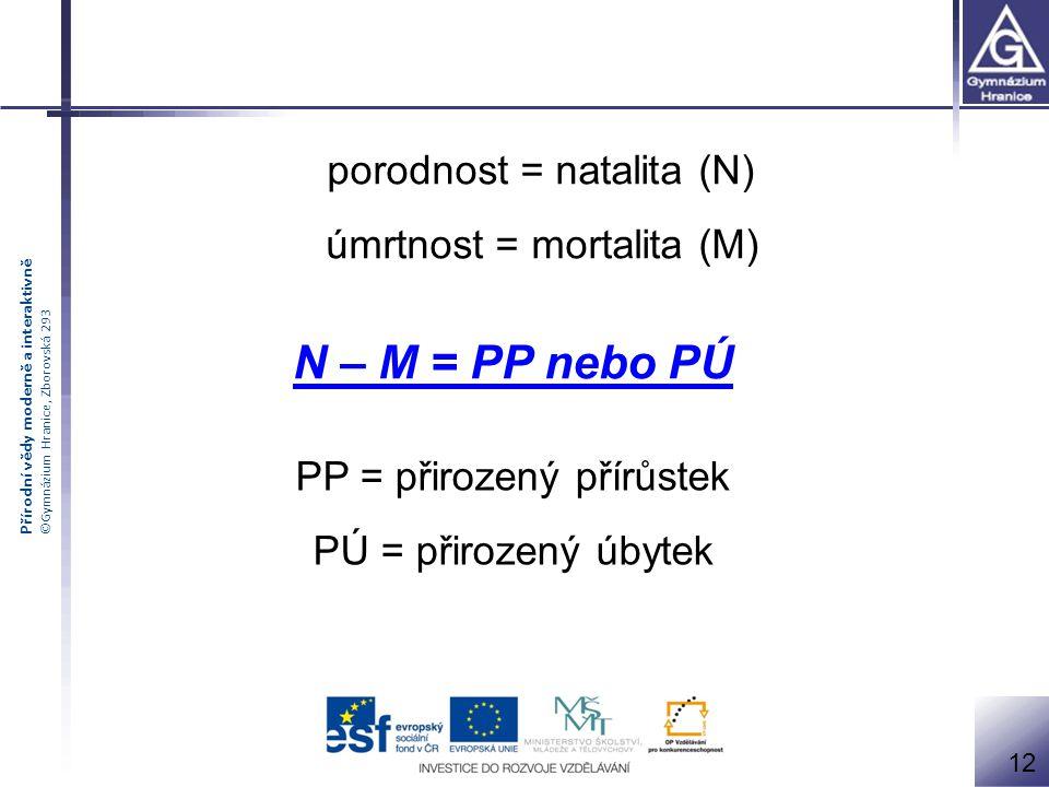 N – M = PP nebo PÚ porodnost = natalita (N) úmrtnost = mortalita (M)