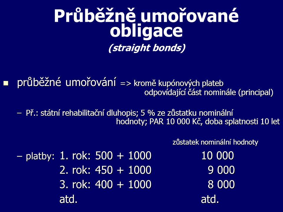 Průběžně umořované obligace (straight bonds)