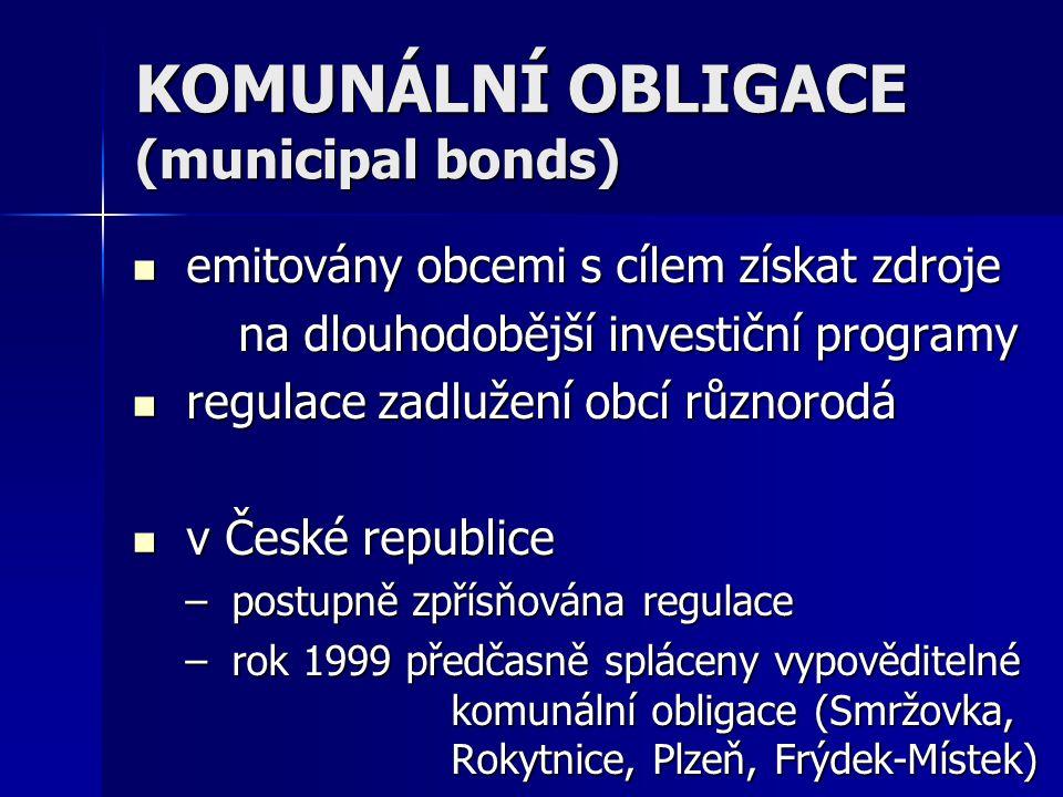 KOMUNÁLNÍ OBLIGACE (municipal bonds)