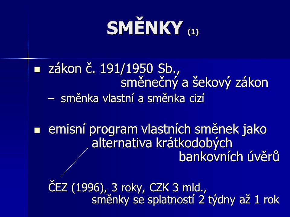 SMĚNKY (1) zákon č. 191/1950 Sb., směnečný a šekový zákon