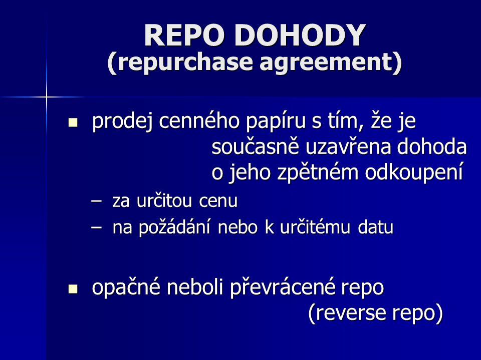 REPO DOHODY (repurchase agreement)