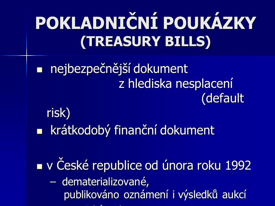 POKLADNIČNÍ POUKÁZKY (TREASURY BILLS)