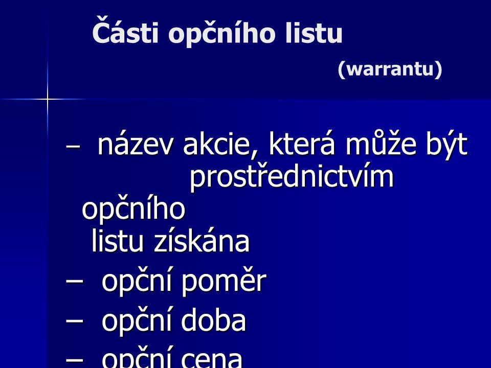 Části opčního listu (warrantu)