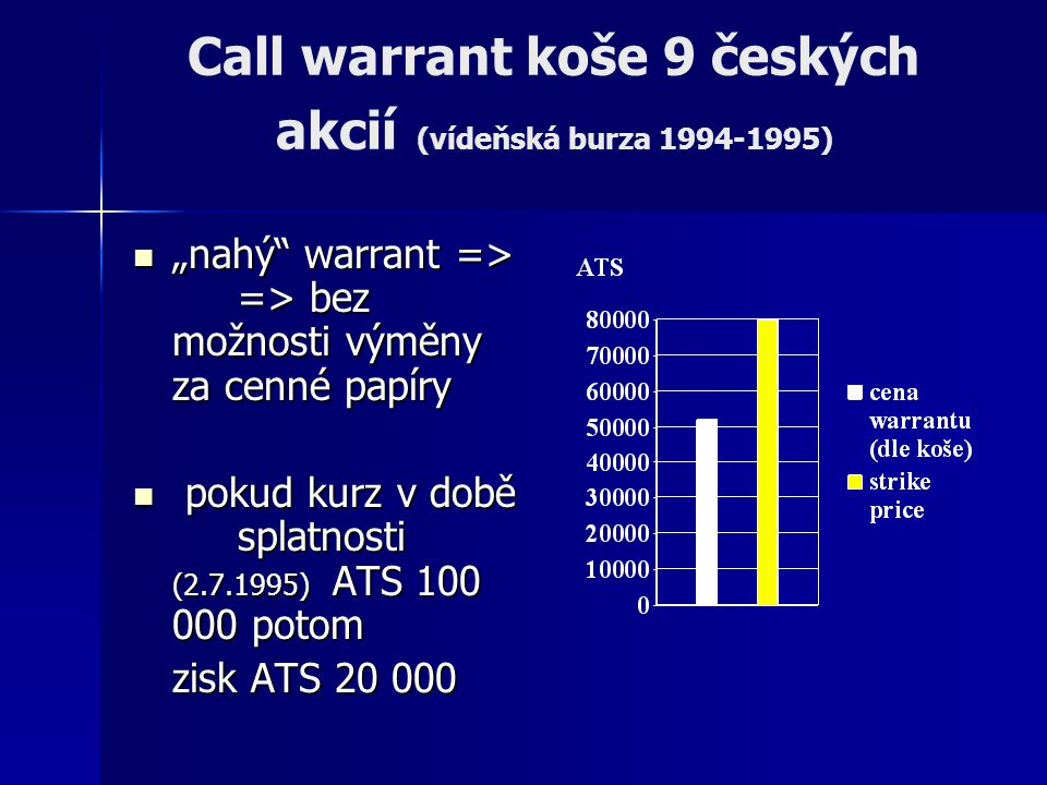 Call warrant koše 9 českých akcií (vídeňská burza 1994-1995)