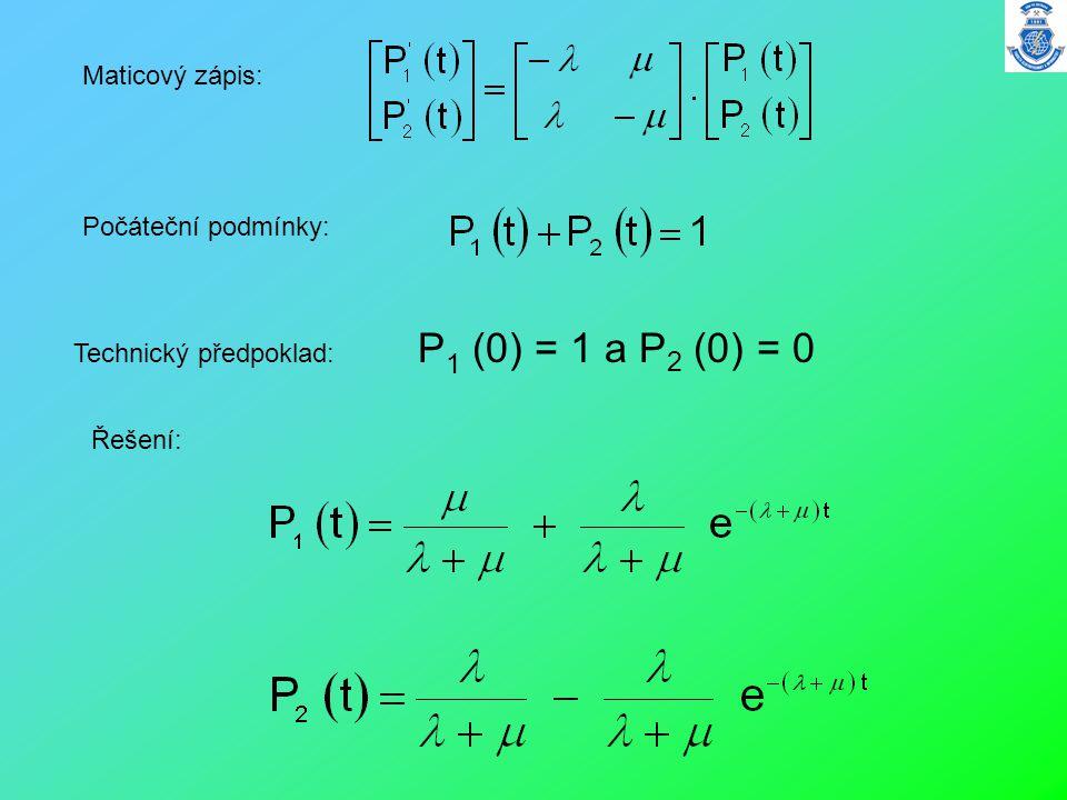 Maticový zápis: Počáteční podmínky: Technický předpoklad: P1 (0) = 1 a P2 (0) = 0 Řešení: