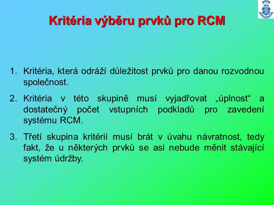 Kritéria výběru prvků pro RCM