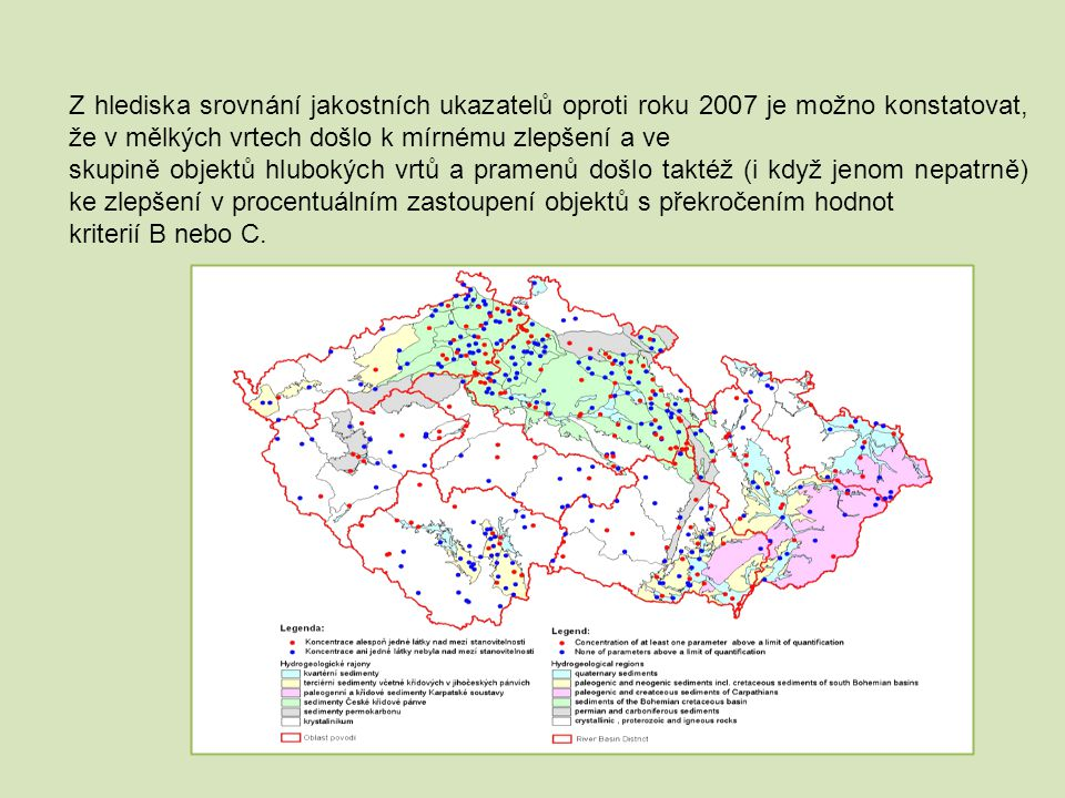 Z hlediska srovnání jakostních ukazatelů oproti roku 2007 je možno konstatovat, že v mělkých vrtech došlo k mírnému zlepšení a ve