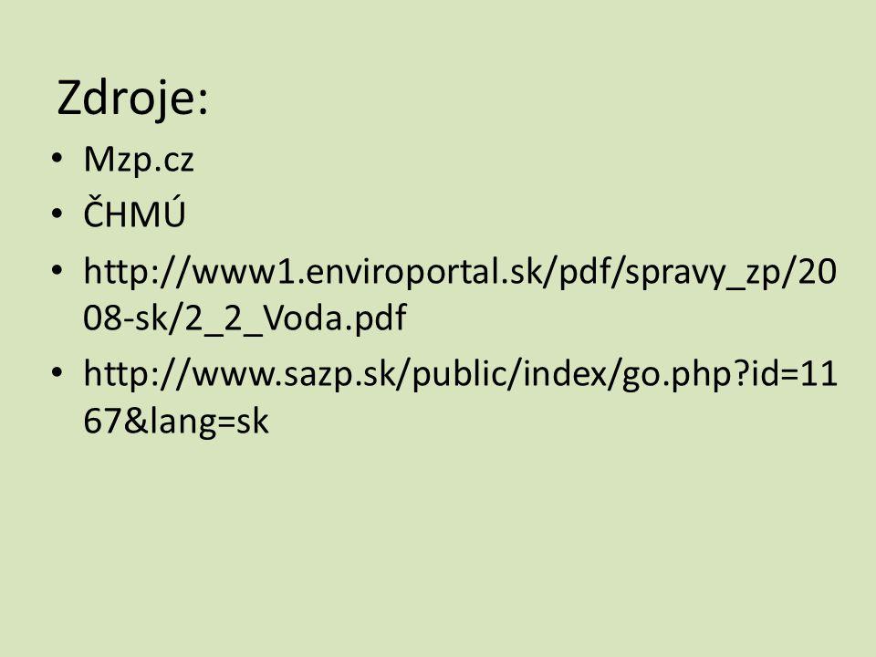 Zdroje: Mzp.cz. ČHMÚ. http://www1.enviroportal.sk/pdf/spravy_zp/2008-sk/2_2_Voda.pdf.