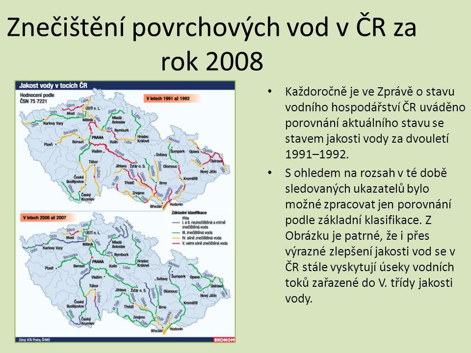 Znečištění povrchových vod v ČR za rok 2008
