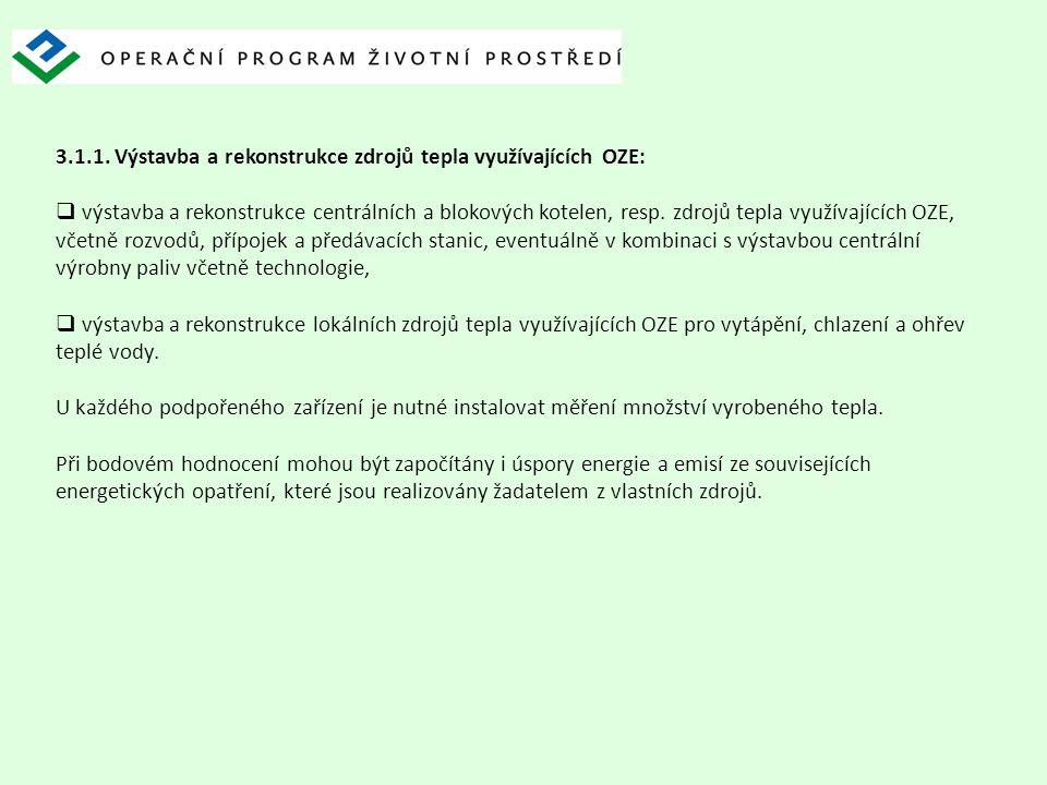 3.1.1. Výstavba a rekonstrukce zdrojů tepla využívajících OZE: