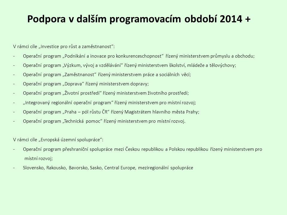 Podpora v dalším programovacím období 2014 +
