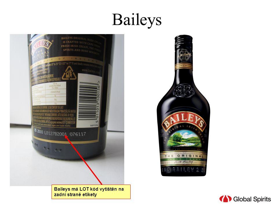 Baileys Baileys má LOT kód vytištěn na zadní straně etikety