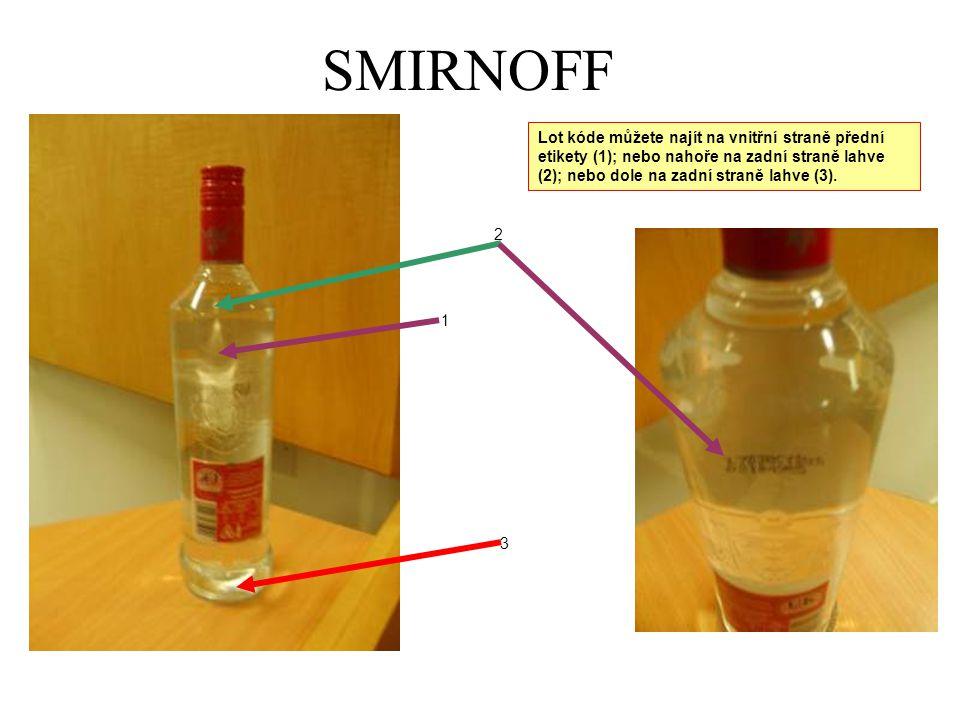 SMIRNOFF Lot kóde můžete najít na vnitřní straně přední etikety (1); nebo nahoře na zadní straně lahve (2); nebo dole na zadní straně lahve (3).