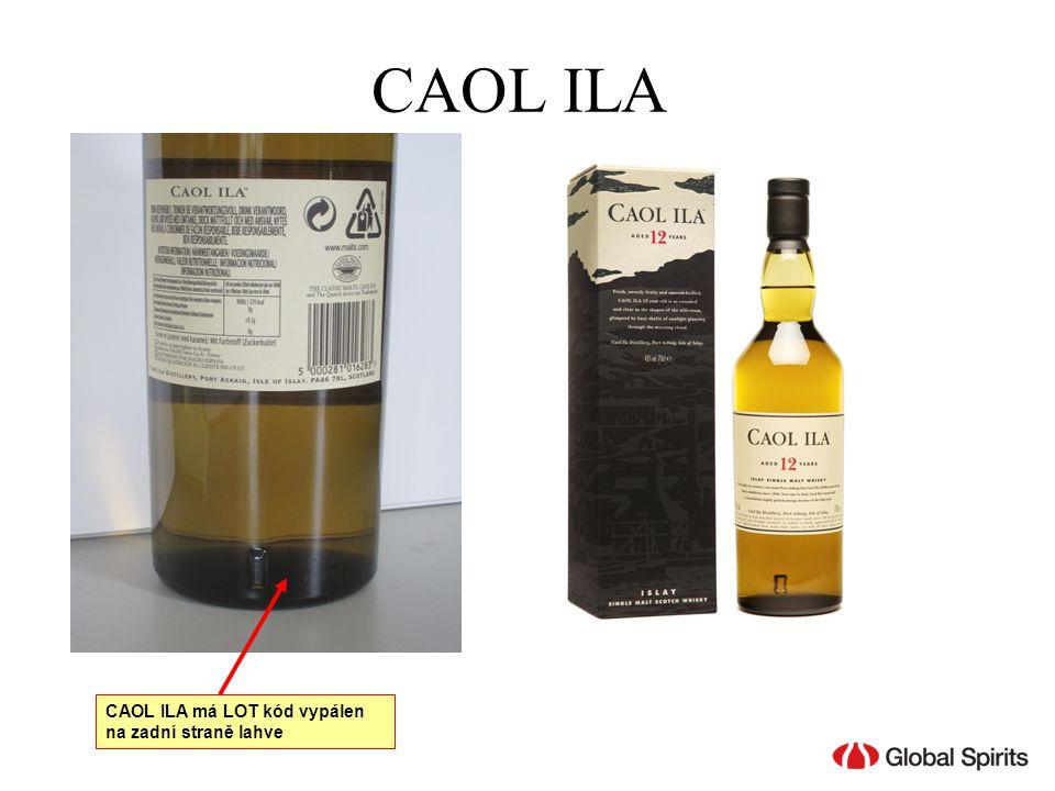 CAOL ILA CAOL ILA má LOT kód vypálen na zadní straně lahve