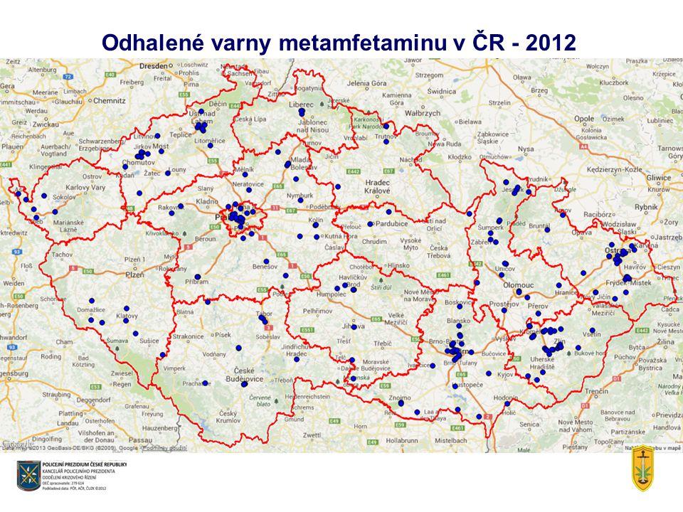 Odhalené varny metamfetaminu v ČR - 2012