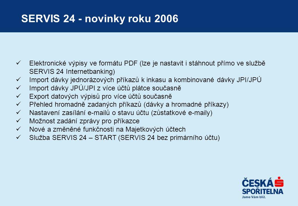 SERVIS 24 - novinky roku 2006 Elektronické výpisy ve formátu PDF (lze je nastavit i stáhnout přímo ve službě SERVIS 24 Internetbanking)