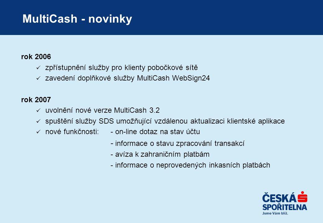 MultiCash - novinky rok 2006