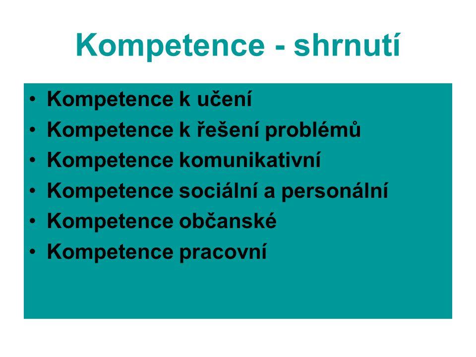 Kompetence - shrnutí Kompetence k učení Kompetence k řešení problémů