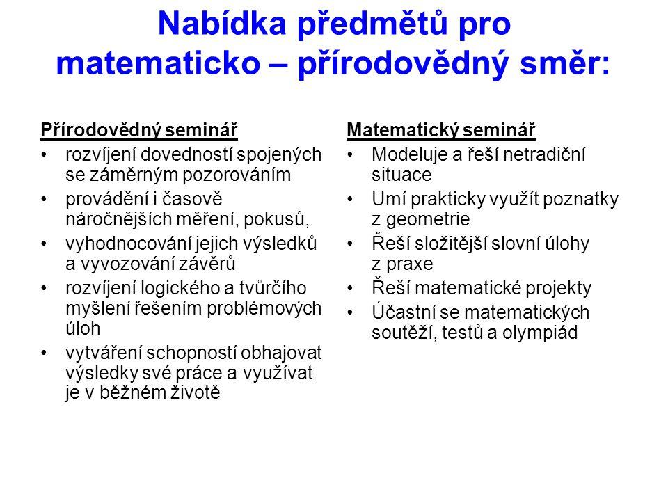 Nabídka předmětů pro matematicko – přírodovědný směr: