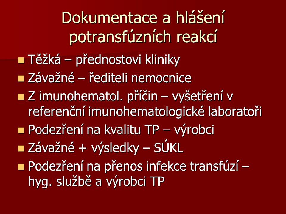 Dokumentace a hlášení potransfúzních reakcí