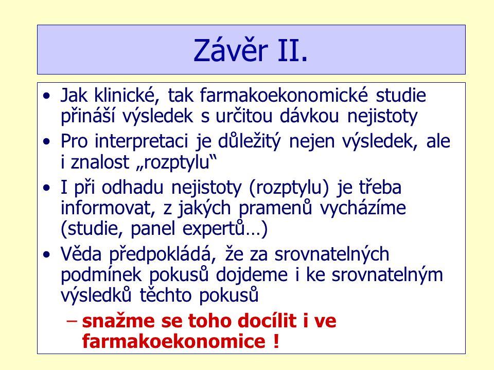 Závěr II. Jak klinické, tak farmakoekonomické studie přináší výsledek s určitou dávkou nejistoty.