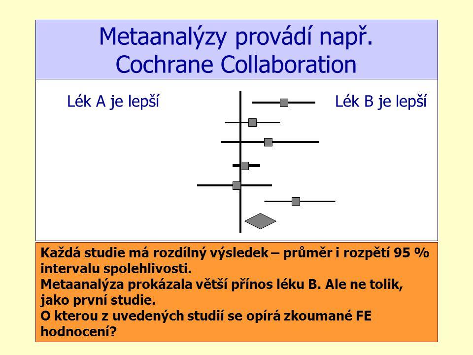 Metaanalýzy provádí např. Cochrane Collaboration