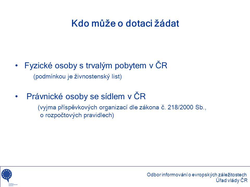 Kdo může o dotaci žádat Fyzické osoby s trvalým pobytem v ČR (podmínkou je živnostenský list)