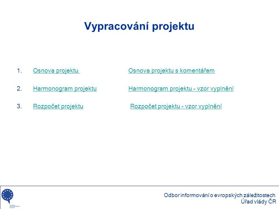 Vypracování projektu Osnova projektu Osnova projektu s komentářem