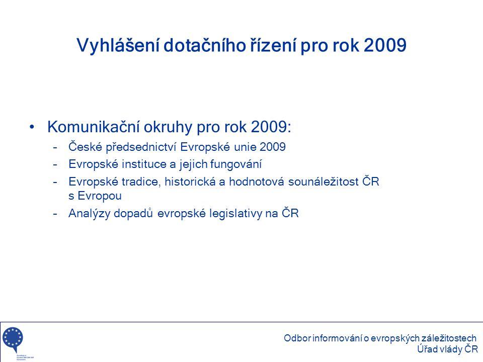 Vyhlášení dotačního řízení pro rok 2009