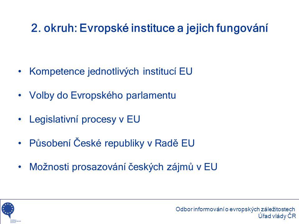 2. okruh: Evropské instituce a jejich fungování