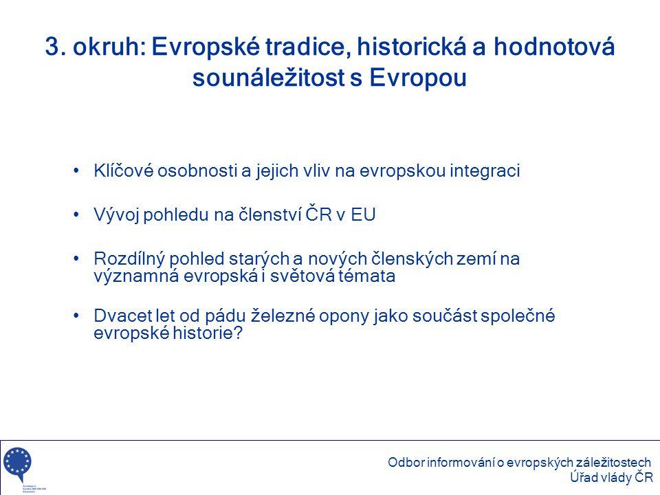 3. okruh: Evropské tradice, historická a hodnotová sounáležitost s Evropou