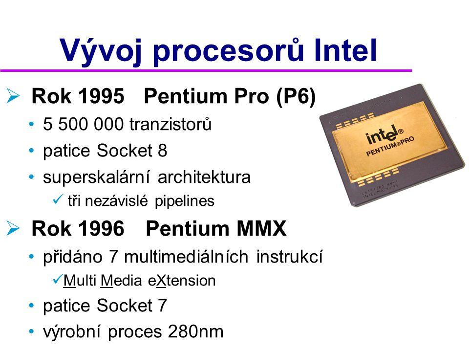 Vývoj procesorů Intel Rok 1995 Pentium Pro (P6) Rok 1996 Pentium MMX