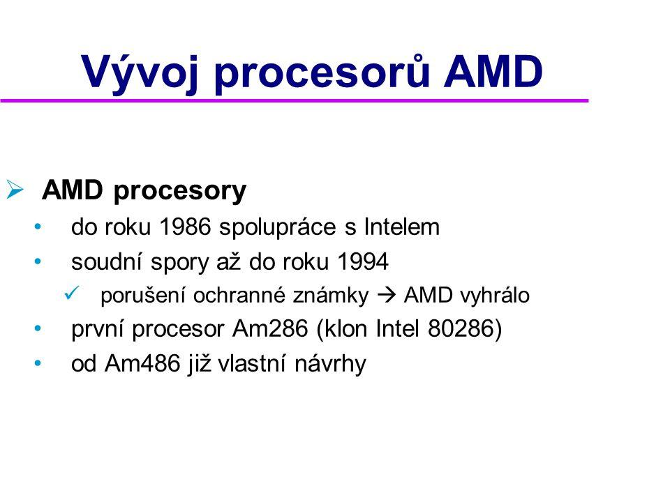 Vývoj procesorů AMD AMD procesory do roku 1986 spolupráce s Intelem