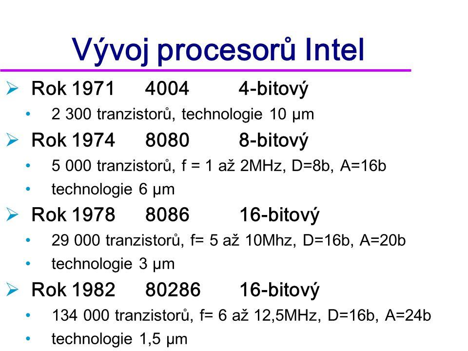 Vývoj procesorů Intel Rok 1971 4004 4-bitový Rok 1974 8080 8-bitový