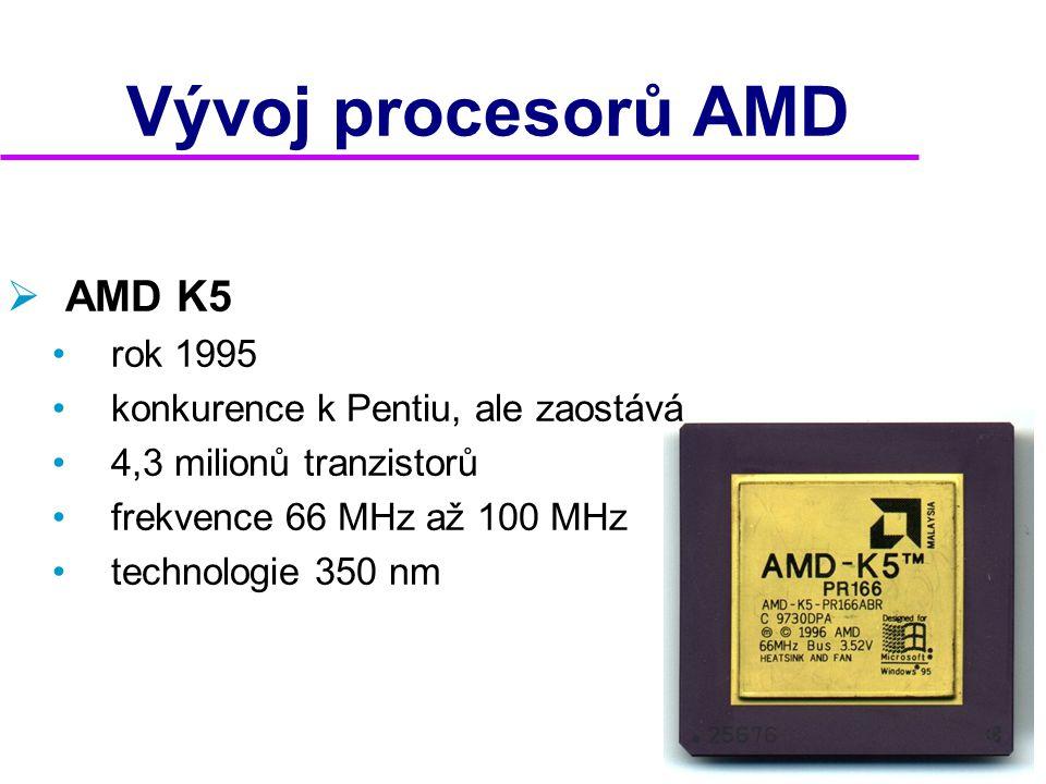 Vývoj procesorů AMD AMD K5 rok 1995 konkurence k Pentiu, ale zaostává