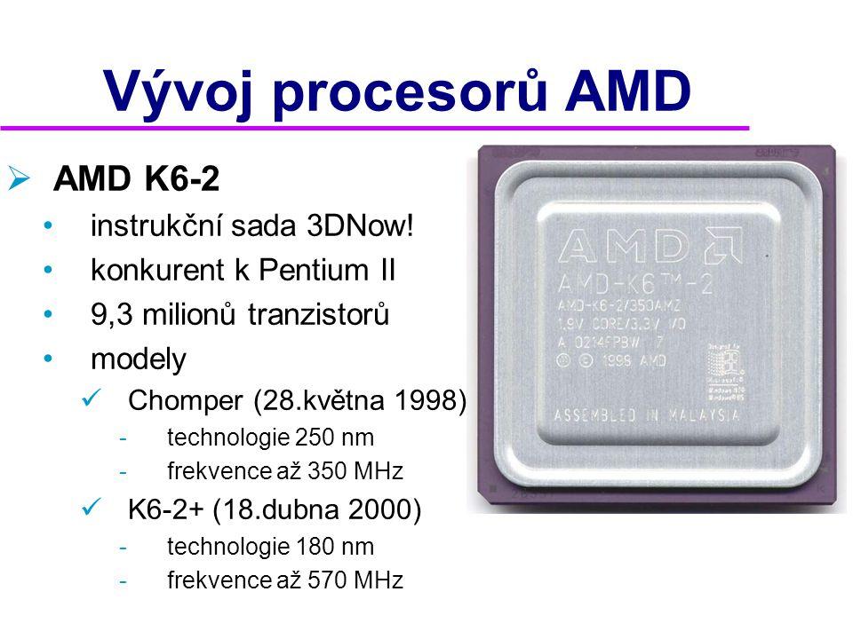 Vývoj procesorů AMD AMD K6-2 instrukční sada 3DNow!
