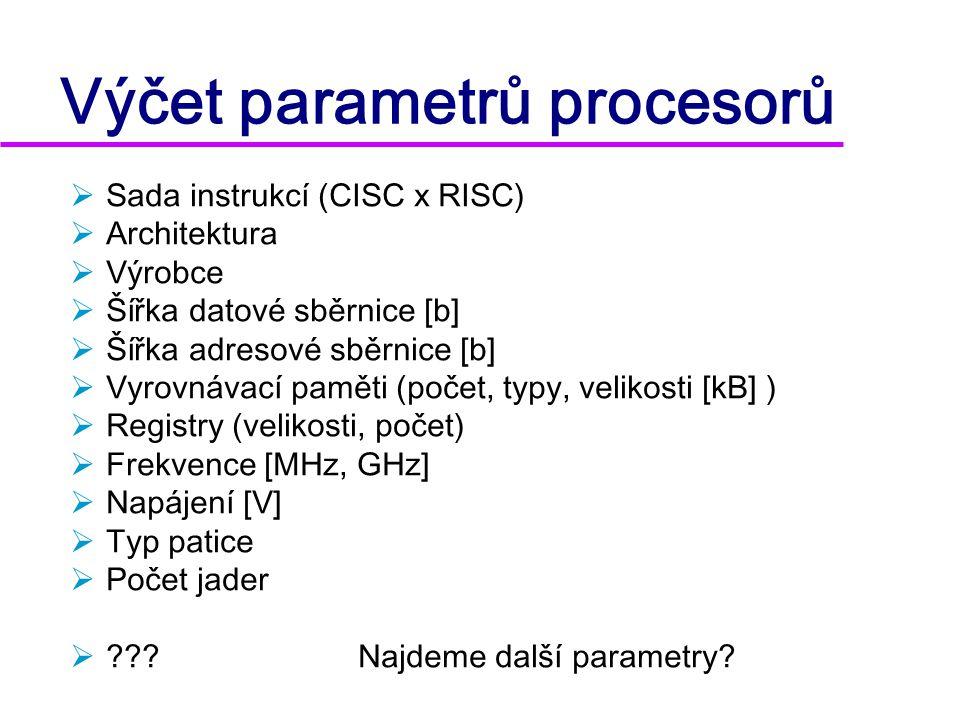 Výčet parametrů procesorů