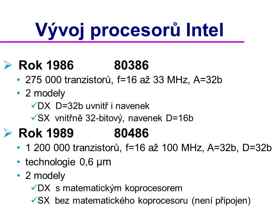 Vývoj procesorů Intel Rok 1986 80386 Rok 1989 80486