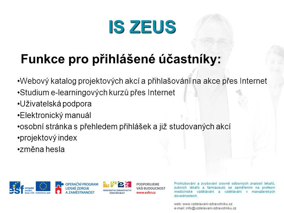 IS ZEUS Funkce pro přihlášené účastníky: