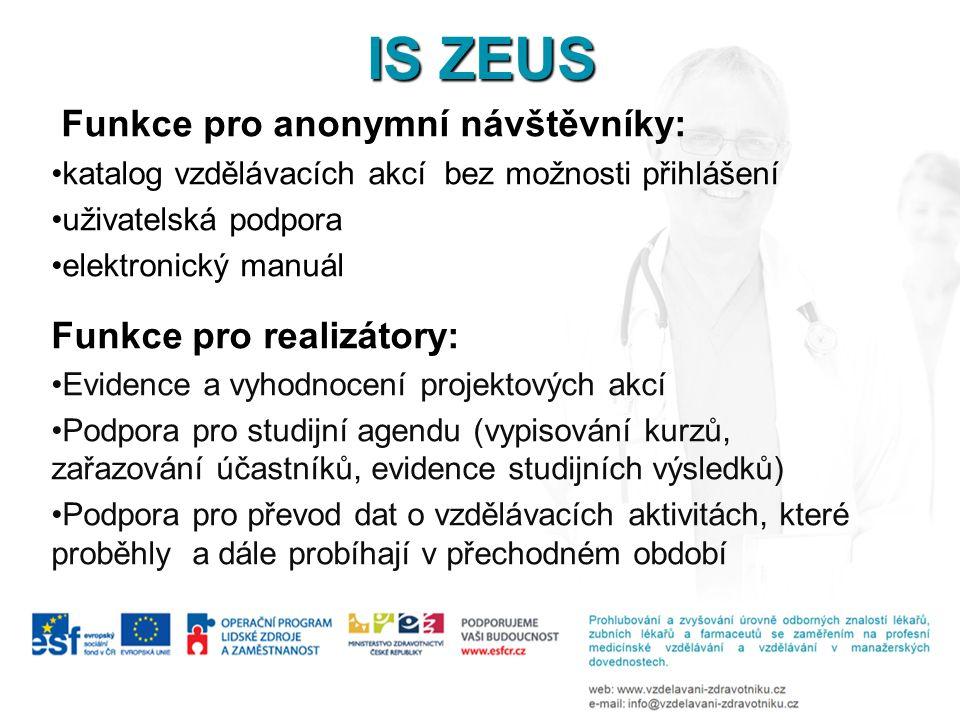 IS ZEUS Funkce pro anonymní návštěvníky: Funkce pro realizátory: