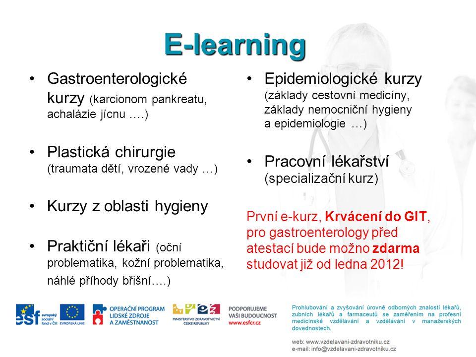 E-learning Gastroenterologické kurzy (karcionom pankreatu, achalázie jícnu ….) Plastická chirurgie (traumata dětí, vrozené vady …)